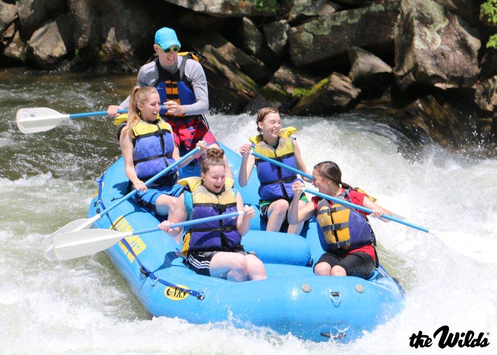 Seniors whitewater rafting on the senior trip