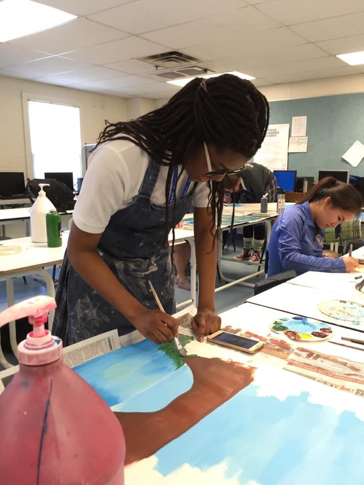 Art students paint